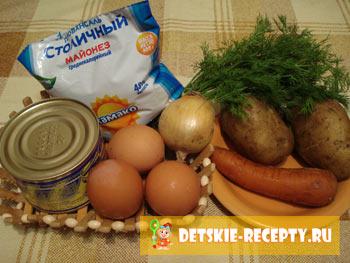 рецепт салата картофель консерва