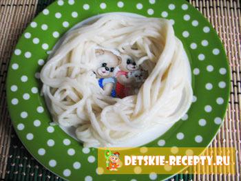 куриные котлетки со спагетти