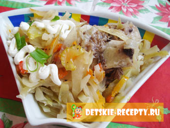 рецепт тушеной капусты с ребрышками