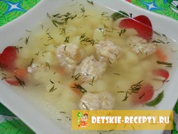 готовые куриные фрикадельки в супе