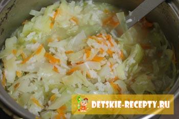 капуста и рис для куриных шеек
