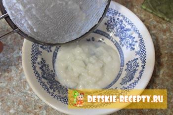 протертая рисовая  каша для грудничка
