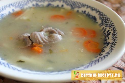 суп с куриными пупками