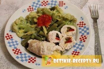 куриные рулетики с овощами в пароварке