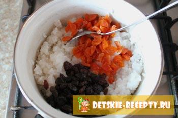 сухофрукты и отварной рис