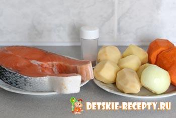 продукты для супа из красной рыбы