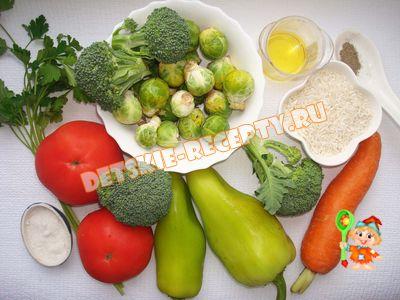 продукты для супа из брокколи и брюссельской капусты