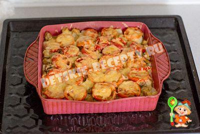картофель с помидорами и грибами в духовке рецепт
