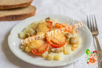 картошка с грибами запеченная в духовке с сыром