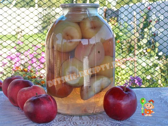 яблочный компот на зиму без сахара