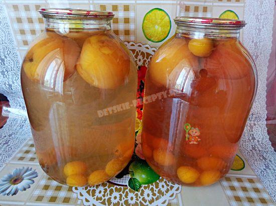 компот из персиков и сливы на зиму
