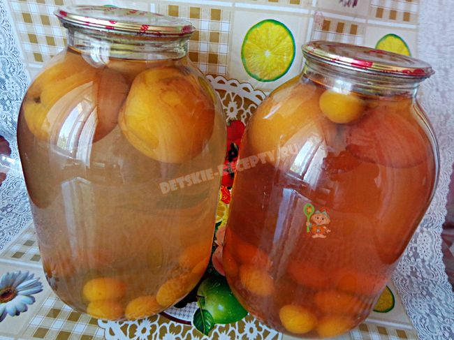 компот из персика и сливы на зиму