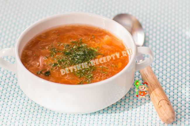 борщ с красной фасолью без мяса