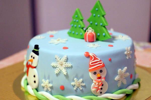 Украсить торт на новый год своими руками